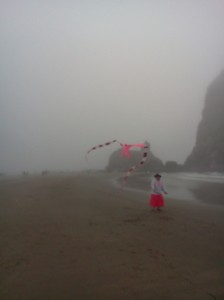 The author goes kite flying in the fog, Cannon Beach, Haystack Rock , August 2013