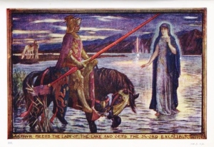 Illustration by H.J. Ford for Andrew Lang's Tales of Romance, 1919. Arthur meets the Lady of the Lake and gets the Sword Excalibur
