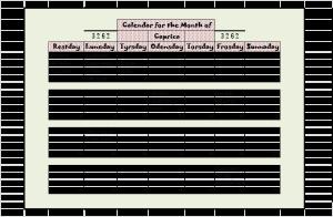 Calendar Capricas 3262 Neveyah