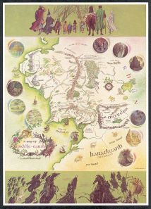 Pauline Baynes' map poster of Middle-earth published in 1970 by George Allen & Unwin and Ballantine Books.