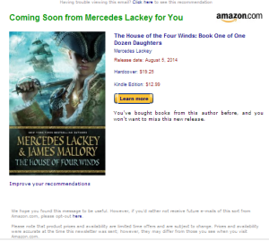 Advanced Notice from Amazon re Merceds Lackey's new book