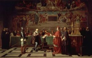 A 19th-century depiction of Galileo before the Holy Office, by Joseph-Nicolas Robert-Fleury image courtesy Wikipedia