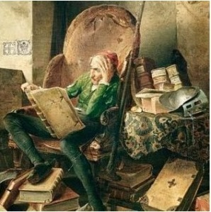 Don Quixote in the library Adolf Schrödter 1834