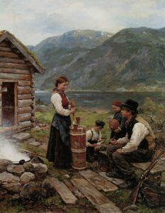 Jahn Ekenæs, 1908: Family in a Norwegian fjord landscape