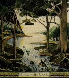 Bilbo comes to the huts of the raftelves by J.R.R. Tolkien