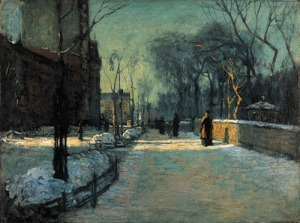 Paul Cornoyer Winter twilight along Central Park