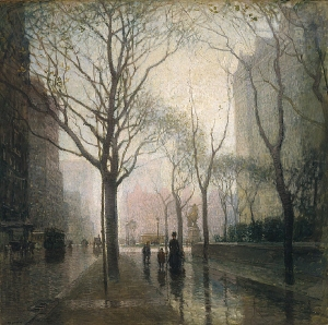 The Plaza After Rain, Paul Cornoyer PD|100 via Wikimedia Commons