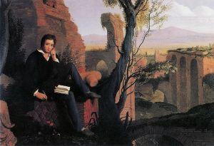 Joseph Severn, 1845, Posthumous Portrait of Shelley Writing Prometheus Unbound in Italy.