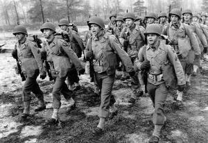 WWII US Soldiers Marching, image courtesy www.berkeley.edu