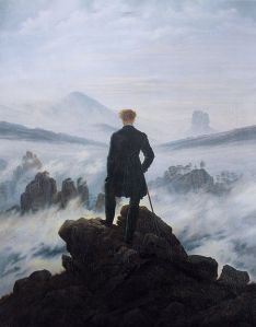 Caspar David Friedrich, Wanderer Above the Sea of Fog, 1818 PD|100 via Wikimedia Commons