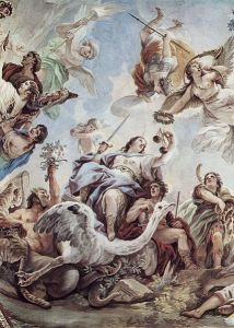 Luca Giordano, Frescoes in the gallery of the Palazzo Medici-Riccardi in Florence, Scene - Justizia ca 1584