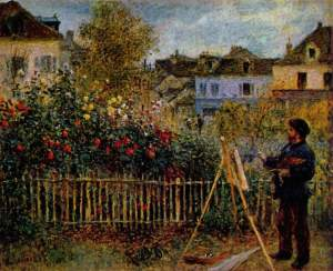 Claude Monet Painting in his Garden, by Pierre-Auguste Renoir [Public domain or Public domain], via Wikimedia Commons