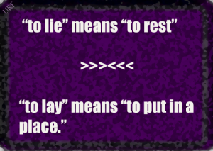 to lie means to rest