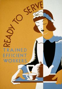 Stylized drawing of a maid on a Works Progress Administration poster via Wikipedia