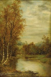 Autumn Landscape With Pond And Castle Tower-Alfred Glendening-1869
