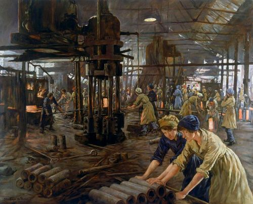 'The Munitions Girls' oil painting, England, 1918 Alexander Stanhope Forbes