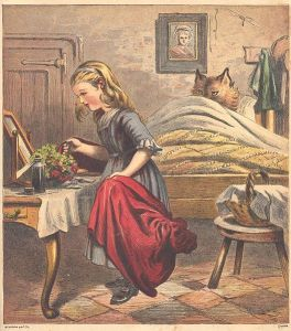 little red riding hood Illustration published in 1868 Dutch edition of Little Red Riding Hood. Engraving by English printer Kronheim & Co