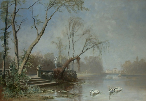 Nymphenburg, View From the Seaside painting by Joseph Wenglein 1883