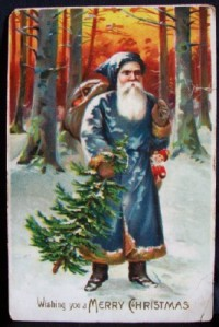414-2-blue-robed-santa-claus-christmas-vintage-postcard