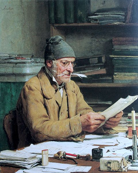 The village clerk , painting by Albert Anke 1874