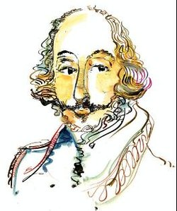 Wm Shakespeare author central portrait