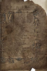 Title page of Geoffrey Chaucer's Canterbury Tales in the hand of his personal scribe Adam Pinkhurst, c. 1400