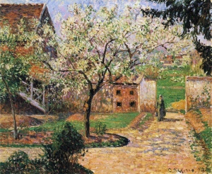 Plum Trees in Blossom, Pissaro 1894 via Wikimedia Commons