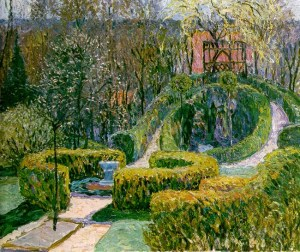 Spring Hedges in Bauerngarten, Heinrich Vogeler 1913 via Wikimedia Commons