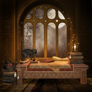 Fantasy Desk With Books And Scrolls © Unholyvault | Dreamstime.com