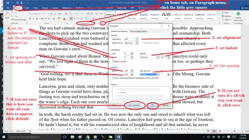 Format paragraphs printscreen