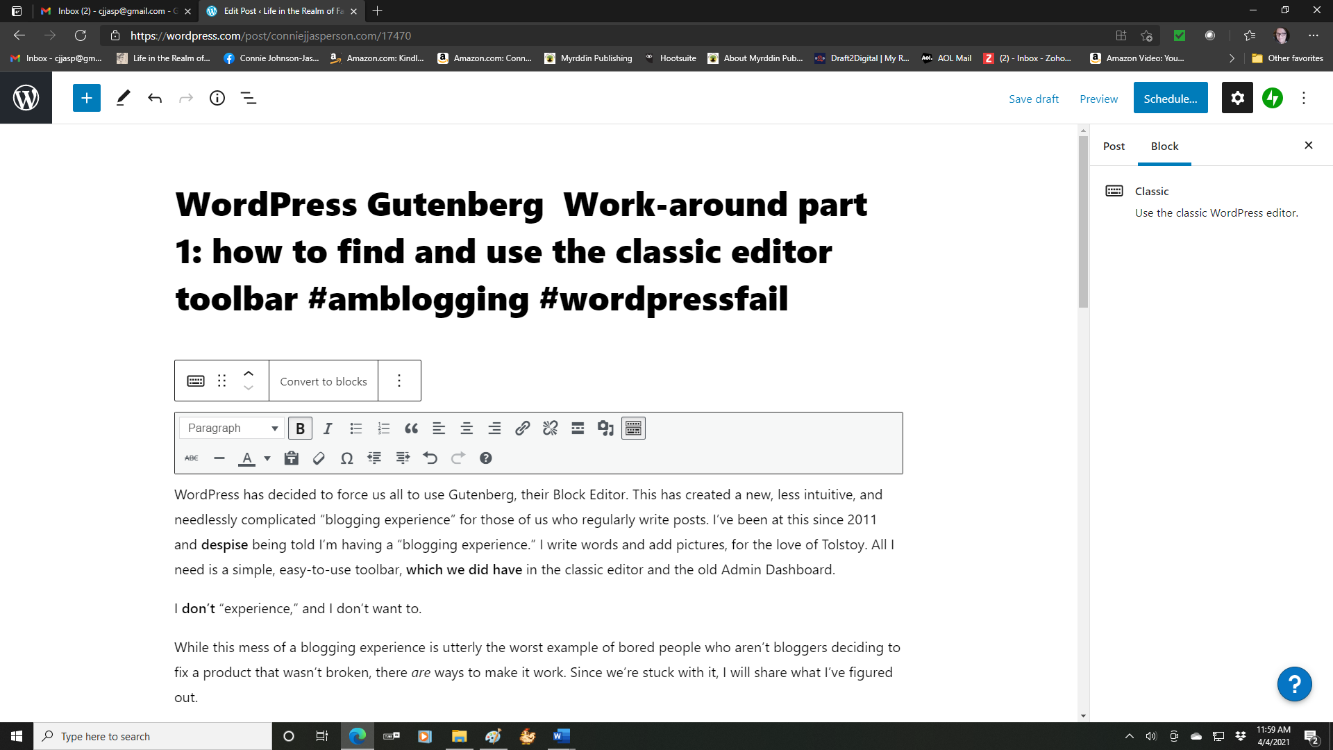 classic editor toolbar