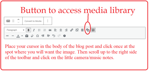 insert images classic editor toolbar