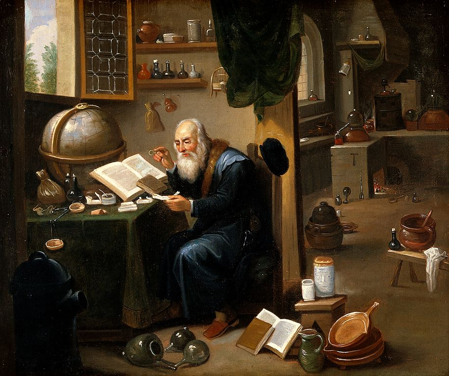 915px-An_alchemist_in_his_laboratory._Oil_painting_by_a_follower_o_Wellcome_V0017631