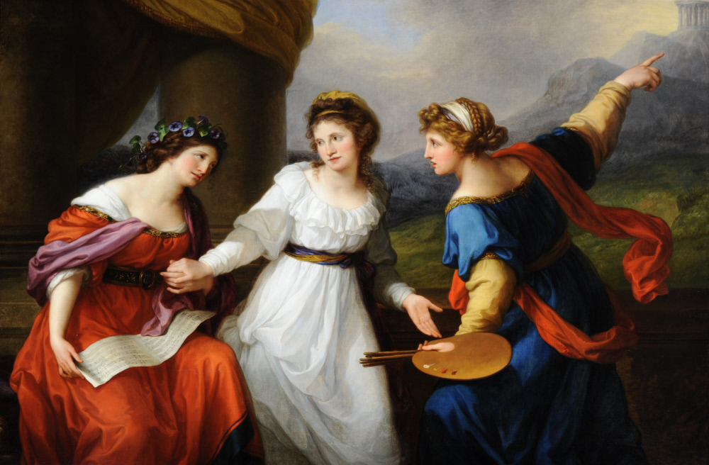 Self-portrait of the Artist hesitating between the Arts of Music and Painting by Angelica Kauffman RA (Chur 1741 ¿ Rome 1807)